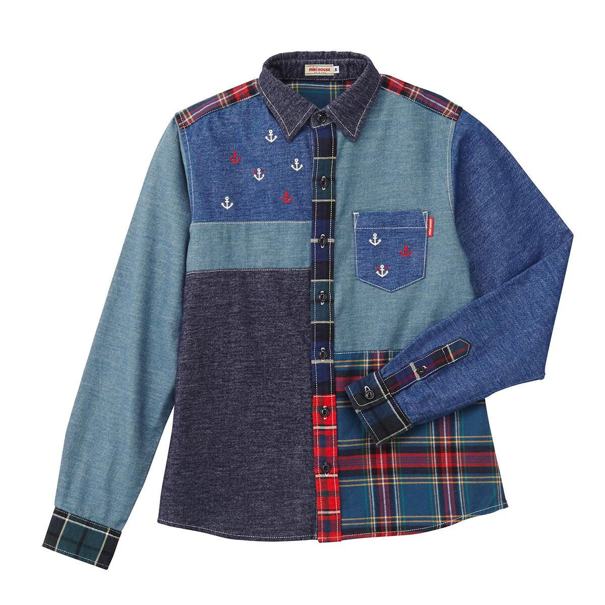 公式ショップ【ミキハウス】デニム×チェックのパッチワークシャツ(大人用)〈S(155cm-165cm)〉