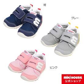 ミキハウス mikihouse mロゴ スポーティセカンドベビーシューズ(13cm-15.5cm) ベビー キッズ 赤ちゃん 男の子 女の子 靴 プレゼント 出産祝い
