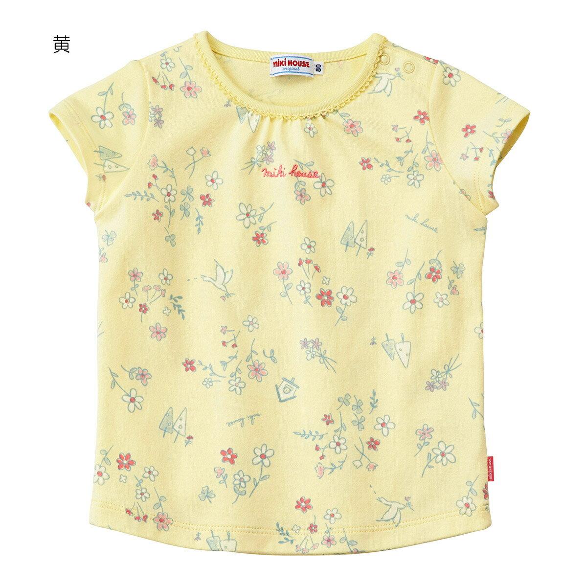 ミキハウス mikihouse 花柄半袖Tシャツ(80cm-130cm)