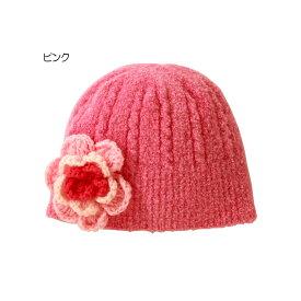 ミキハウス mikihouse ニットお花モチーフのフード(帽子)〈フリー(42cm-50cm)〉