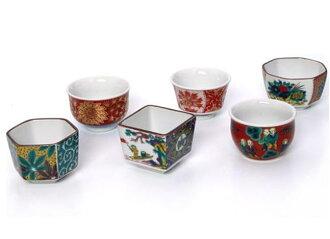 Kutani 陶瓷組盃时代风格玻璃 6 件套餐