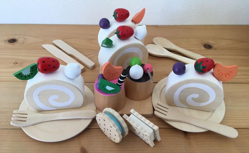 木のおもちゃ ままごとセット おままごとロールケーキセット/木のケーキ