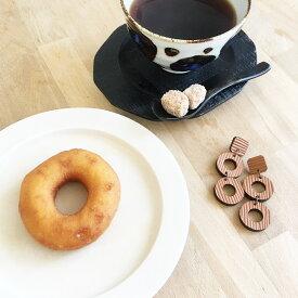 ドーナツと角砂糖ピアス 牛革 革 軽い イヤリング変更可能 大ぶり