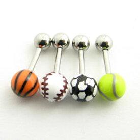 ボディピアス 16g ボールデザイン ストレートバーベル 野球 サッカー バスケット テニス 16G stb500
