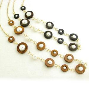 ネックレス ウッドパーツとパールのゴールドチェーンネックレスロングチェーン 真珠 木 KN33033【ペンダント】【ネックレス】