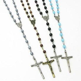 ネックレス シンプル系ロザリオ ネックレス 4色 KN35054【クロス】【メダイ】【ペンダント】【教会】