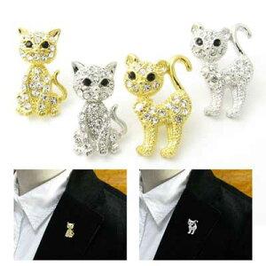 ラペルピン ネコ 猫 ねこ ピンブローチ ラベルピン タックピン KS42005【GEM plus】【メンズ】【結婚式】【レディース】