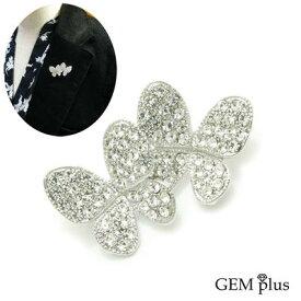 ブローチ 蝶々 2匹 シンプル ラペルピン ピンズ タックピンKS45033【GEM plus】【メンズ】【結婚式】【レディース】