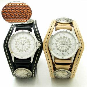 KC,s腕時計(ケーシーズ)バスケット 編みかご柄 牛革 ペアウォッチ 3コンチョレザーウォッチ 4色KPR504p【ケイシイズ】