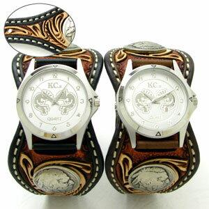 KC,s腕時計(ケーシーズ)クラフトデラックス フローラル柄 牛革 ダブルバット エスパニョーラ ベルト式 3色KPR509p【ケイシイズ】