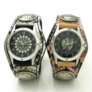 KC,s腕時計(ケーシーズ)パイソン ニシキヘビ革 ペアウォッチ 3コンチョレザーウォッチ 6色KSR508p【ケイシイズ】