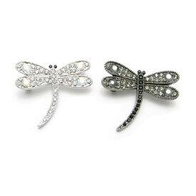 ブローチ とんぼ トンボ 蜻蛉 ラペルピン ラインストーンKS49032 【GEM plus】【ラベルピン】【結婚式】【レディース】【メンズ】