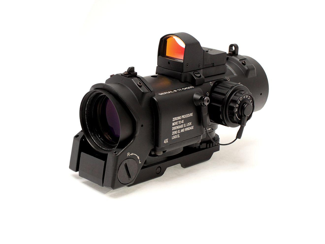 【米軍でも採用!小さくても高性能!究極スコープ】ELCAN SPECTER DRタイプ X4スコープ/BK 自動調光ミニダットサイト付★エルカンスペクターDRマルイM4M16レシーライフルなどに(H0202B)