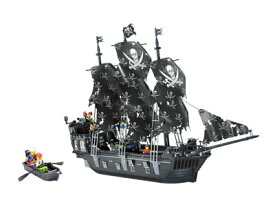 【AFM ブロックシリーズ/海賊船】ブラックパール号 1184Blocks◆ミニフィグ&小型ボート付属/パイレーツ/黒/LEGO互換