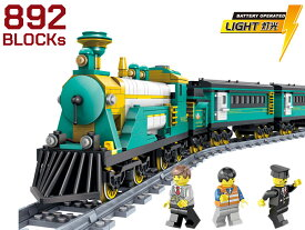 【AFM ブロックシリーズ/タウン】SL機関車+パッセンジャートレイン ライブサウンド 851Blocks◆電車/専用周回レール付/LEGO互換/ミニフィグ付属