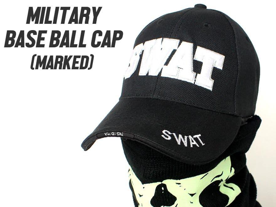 【サバイバルゲーム/アウトドア/普段使いに】MILITARY-BASE(ミリタリーベース)ミリタリー ベースボールキャップ SWAT/BK◆フリーサイズ/帽子/野球帽/サバゲ