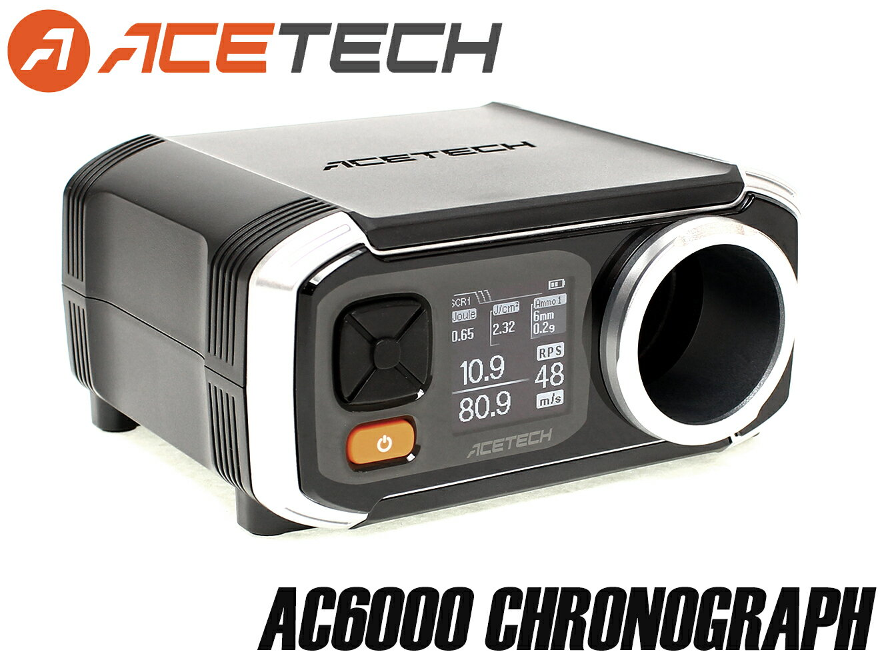 【90日間保証&日本語取説付】ACETECH AC6000 弾速計◆アルミ製測定口/サイクル測定可能/ショットメモリー機能付き/初速測定器/エーステック