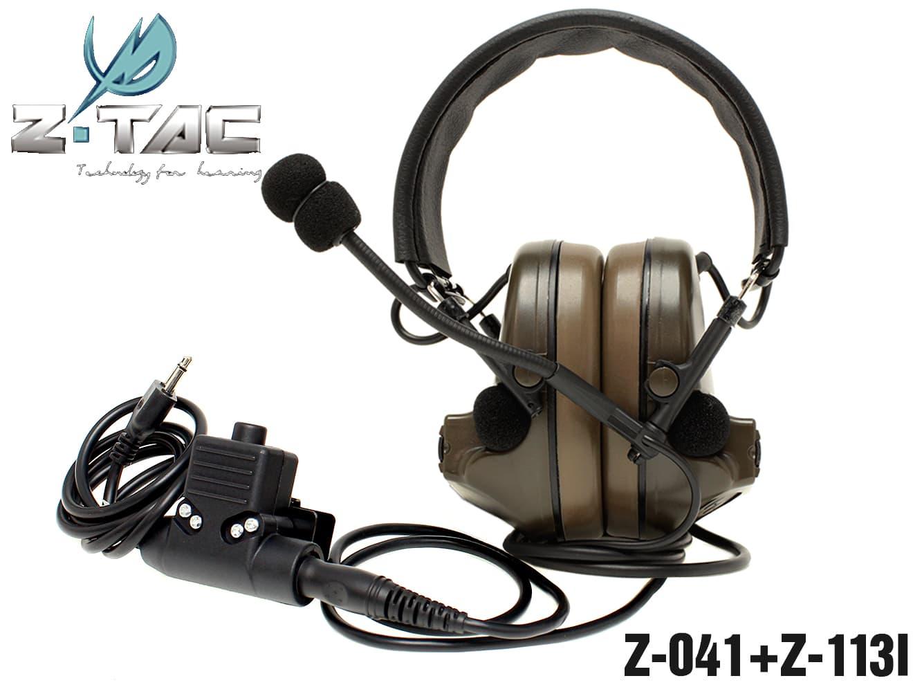 Z-TACTICAL COMTAC2ヘッドセット+ICOM用U94タイプPTTスイッチ セット◆ICOMトランシーバーとセット使用でリアル通信アイテムに!