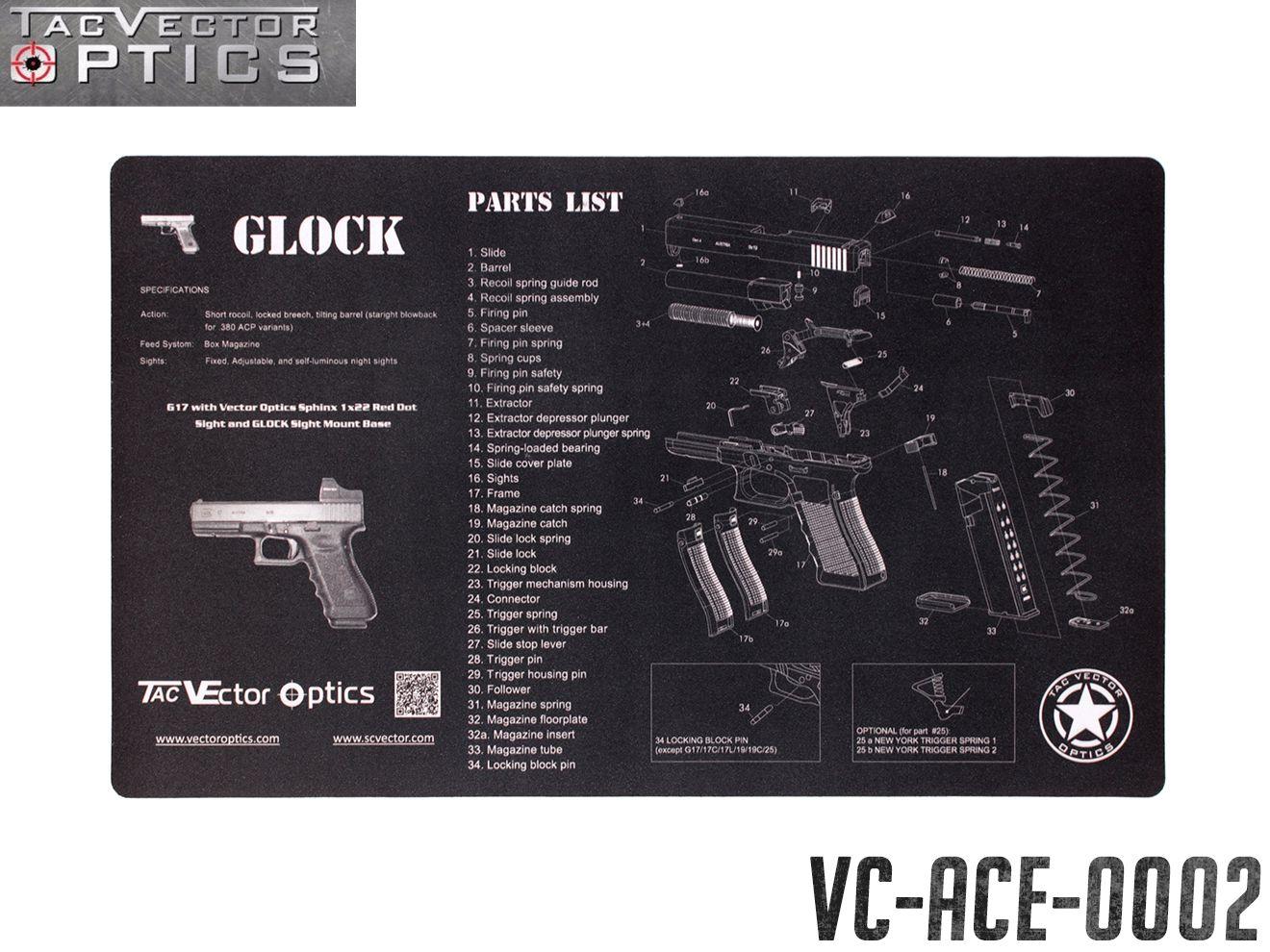 VECTOR OPTICS ガン クリーニングマット GLOCK◆G17 グロック17 トイガン メンテナンスマット 整備 分解 パーツリスト ベンチマット マウスパッド XLサイズ