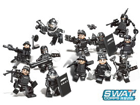AFM SWAT シリーズ ミニフィギュア 12体セット A◆スワット 特殊警察 ブロック フィギュア 警察 ポリス 特殊部隊