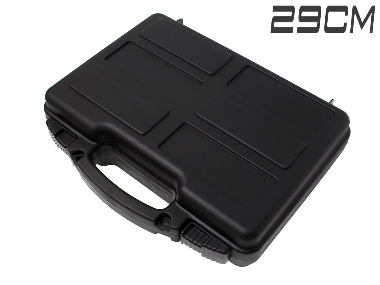 【軽量ハードケース/収納容量3.1L】ABS ハンドガンキャリングケース/BK◆内部スポンジ型抜き可能/ガンバッグ/DE等大型ハンドガン可