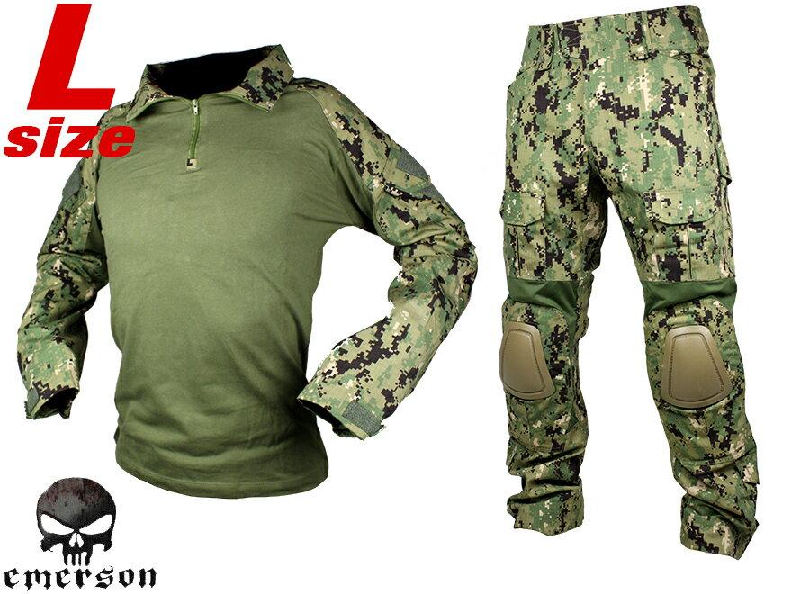 【SEALs装備を再現/本格志向派に】EMERSON GEAR G2 コンバットシャツ&パンツ L-size/AOR2◆上下セット装備/パッド標準装備/緑地迷彩