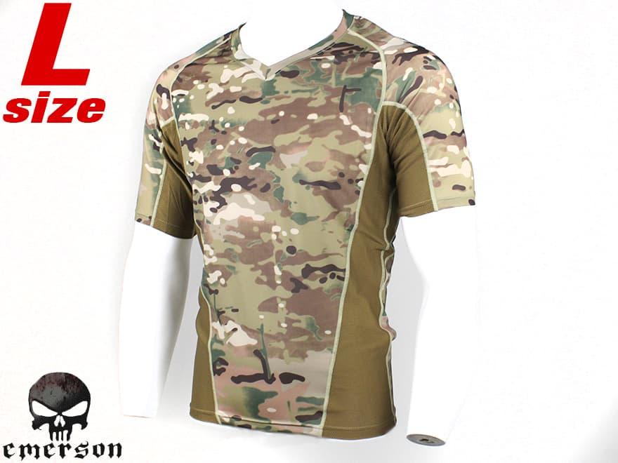 【スパンデックス+ドライメッシュ】EMERSON GEAR タイトフィット コンバット T-シャツ V2 L-size/MC◆サバゲに!コンシャツ/マルチカム迷彩/練習着