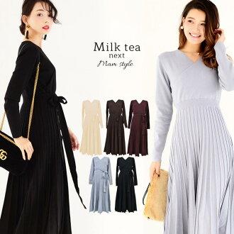 <Milk tea next> Abie (lady's dress きれいめ four circle parents' association invite winter long sleeves party)