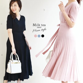 <Milk tea next> short sleeves, Abie (lady's dress Cache-coeur pleats short-sleeved figure cover looking thinner in the spring and summer)