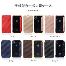 新型iPhoneSE iPhoneX iPhoneXS iPhone8 iPhone8 Plus iPhone7 iPhone7 Plus iPhone6 iPhone6s iPhone6 Plus iPhone6s Plus iPhone5 iPhone5s iPhoneSE 手帳型ケース カードホルダー付き 背面クリア カーボン調 ブルーライトカットガラスパネル