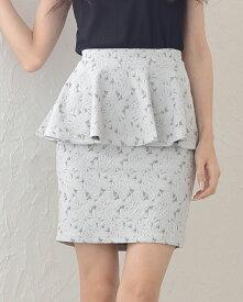 《エンボスローズ柄ペプラムスカート》ボトムス スカート ミニスカート 花柄スカート ペプラムスカート 体型カバー 薔薇柄 ミニ丈 おしゃれ 大人 セクシー シンプル カジュアル レディース 激安[ca新作]