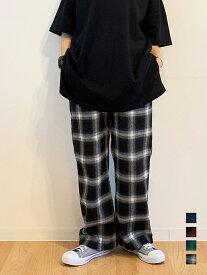 【イージーワイド チェックパンツ】チェック柄パンツ ブロックチェックパンツ 韓国 ウエストゴム 大きい ゆったり レディース