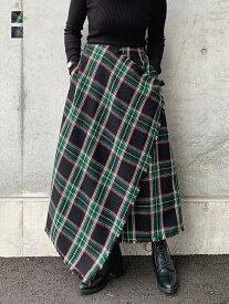 【タータンチェック柄アシメスカート】ボトムス スカート ロングスカート ゆったり リラックス ラフ ウエストゴム タータンチェック チェックスカート 大人服 お洒落 普段着 着回し力 シンプル デイリー レディース カジュアル
