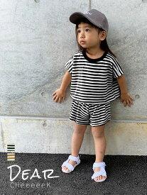 【ボーダー柄セットアップ】70-120cm 上下セット トップス 半袖 ショートパンツ ウエストゴム 女の子 韓国子供服 キッズ ジュニア ベビー