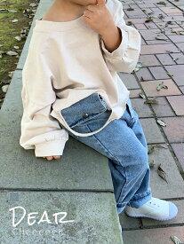 【ベルトポーチ付きデニムパンツ】80-130cm ジーパン ジーンズ ポケットポーチ 小物入れ 男の子 女の子 韓国子供服 ジュニア キッズ