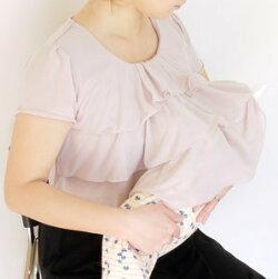 おしゃれ授乳服マタニティ半額セールお買い得半袖3段フリルワンピースフォーマル結婚式お宮参り日本製産後母乳育児服安い可愛いミルフェルム