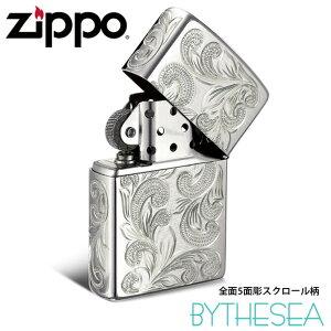 Zippo ライター ジッポライター シルバー925 スターリングシルバー レギュラータイプ スクロール模様 5面手彫り ハワイアンジュエリー ブランド かっこいい ジッポーライター メンズ レディー