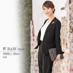 フロントタックブラウス付き着せ替え2ジャケット&パンツ4点セットスーツ