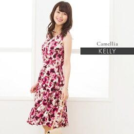 ケリーワンピ:ケリーフレア カメリア ルビーレッド フレアーワンピ ジャージー 30代 40代 花柄 ワンピース フレア 膝丈 大人 上品 エレガント 着やせ S-M-L-XL トールサイズ 夏ワンピ