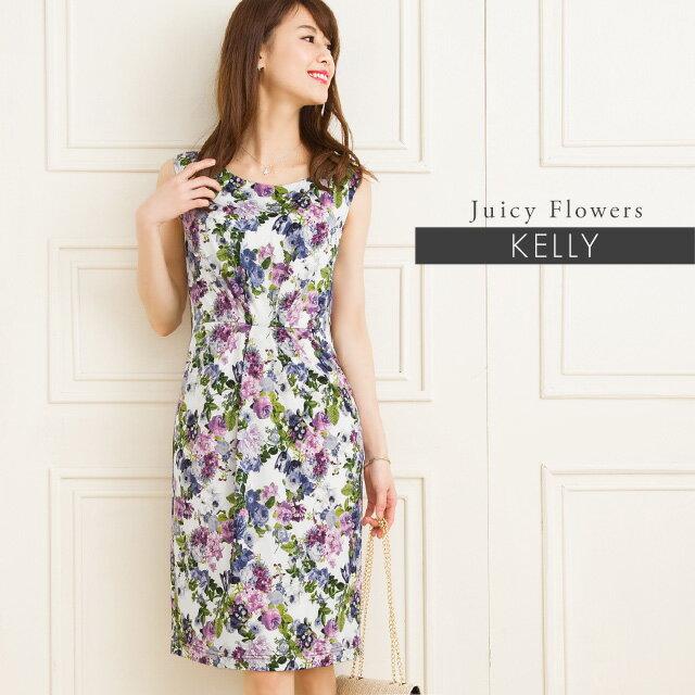 ケリーワンピ : X-Line ジューシーフラワー ブルーベリー ジャージー 30代 40代 大人 上品 エレガント 着やせ タイト 夏ワンピ 花柄 ワンピース 膝丈 春/夏 ノースリーブ S-M-L-XL トールサイズ