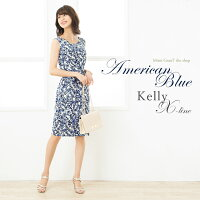 ケリーX-Line:アメリカンブルー◆opr6-080024ケリーワンピジャージー30代40代エレガントワンピース大人上品オフィス花柄着やせタイト膝丈春/夏ドット柄ノースリーブS-M-L-XLトールサイズ大きいサイズ