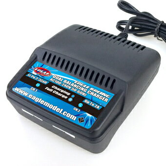 イーグルフォース 2本同時充電可能 リポ LiPo専用 AC Li-Poデュアルバランシングチャージャー 2-3S 7.4V-11.1V 用 電動ガン ラジコン等に