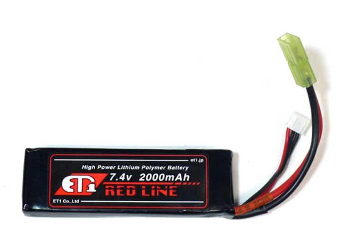 ET1 レッドライン Li-Po リポバッテリー 7.4V 2000mAh ミニSサイズ ETR220B 電動ガン サバゲー