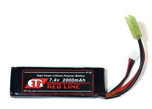 ET1 レッドライン Li-Po リポバッテリー 7.4V 2000mAh ミニSサイズ ETR220B 電動ガン サバゲー メール便 ネコポス可