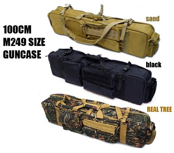 ガンケース M249 サイズ対応 100cm シングル&ダブル ライフルケース M4 2丁 ガンケース BK DE リアルツリー ミリタリー サバイバルゲーム 装備 サバゲー