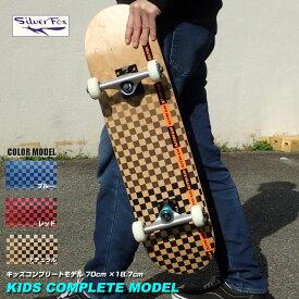 送料無料 キャリーバックプレゼント シルバーフォックス(Silver Fox)KIDS COMPLETE キッズコンプリート 28インチ スケートボード 全長700mm 小型スケボー 入門 子供 キッズ 初心者から上級者まで幅広く対応