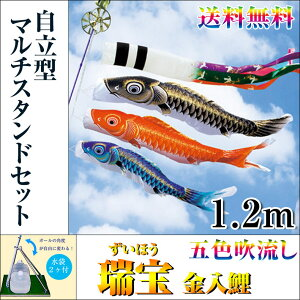 【送料無料】特選鯉のぼりフルセット五色吹流し瑞宝金入鯉1.2m自立型マルチスタンドセットホームサイズ地域限定商品五月人形こいのぼり