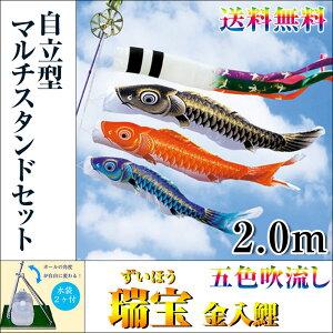 【送料無料】特選鯉のぼりフルセット五色吹流し瑞宝金入鯉2.0m自立型マルチスタンドセットホームサイズ五月人形こいのぼり