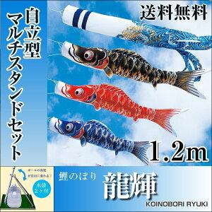 【送料無料】特選鯉のぼり龍輝スタンド付きフルセット1.2m自立型マルチスタンドセットホームサイズ五月人形こいのぼり【fsp2124】