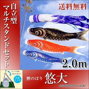 【送料無料】特選鯉のぼり悠大スタンド付きフルセット2.0m自立型マルチスタンドセットホームサイズ五月人形こいのぼり【fsp2124】